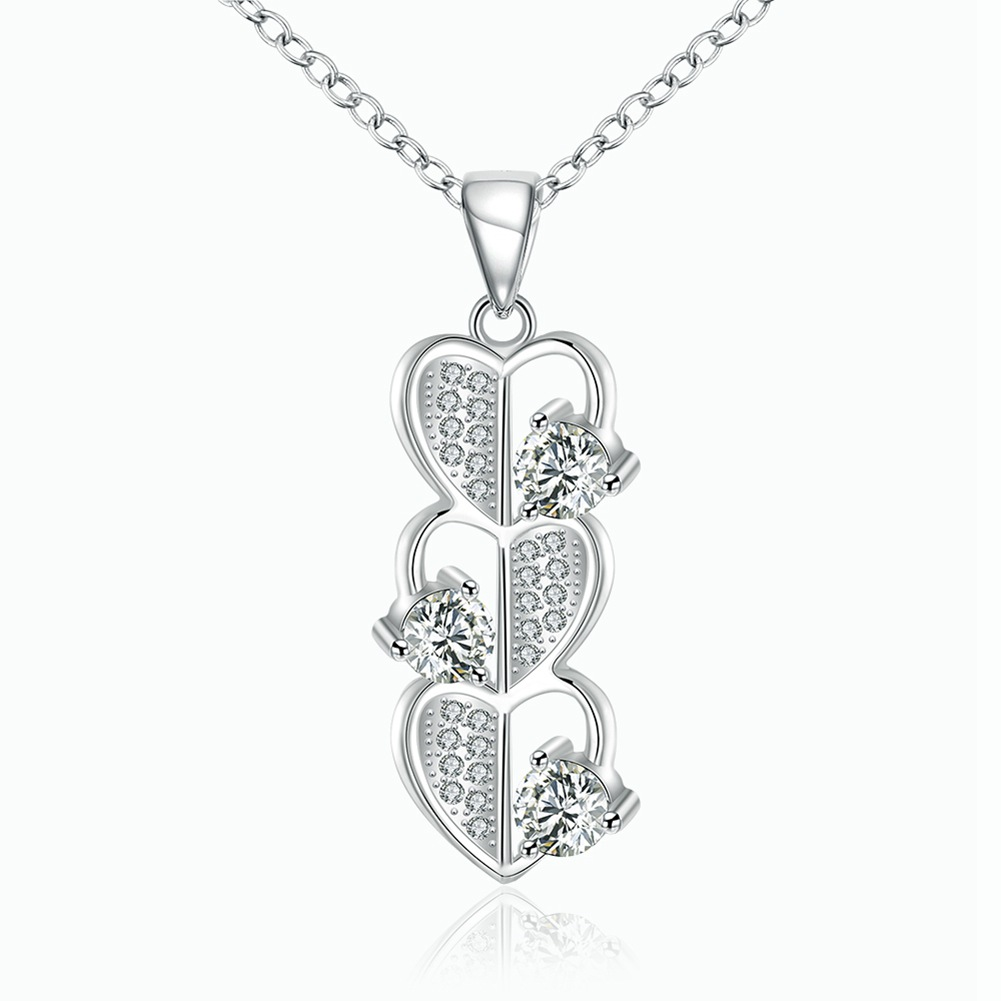 Fashion 925 Silver Plated Jewelry Crystal Heart Pendants
