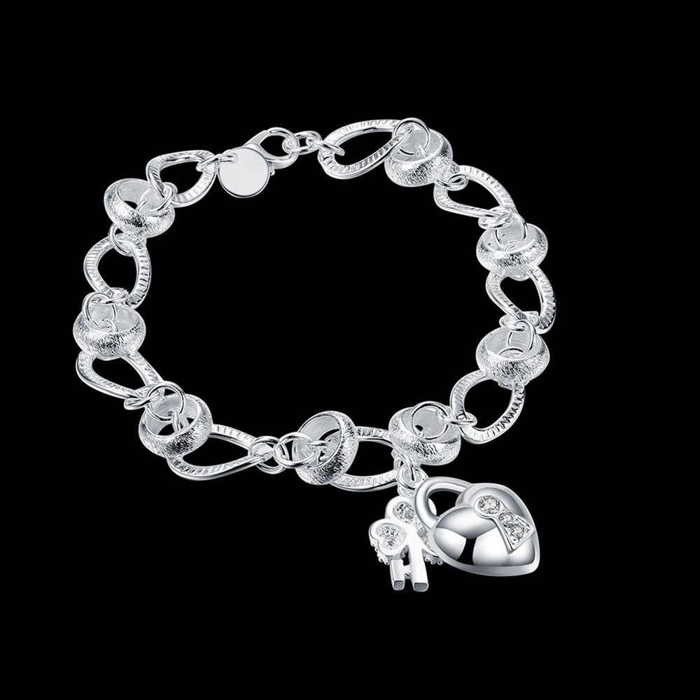 New 925Sterling Solid Silver Jewelry Crystal Heart/&Key Bracelet For Women H062