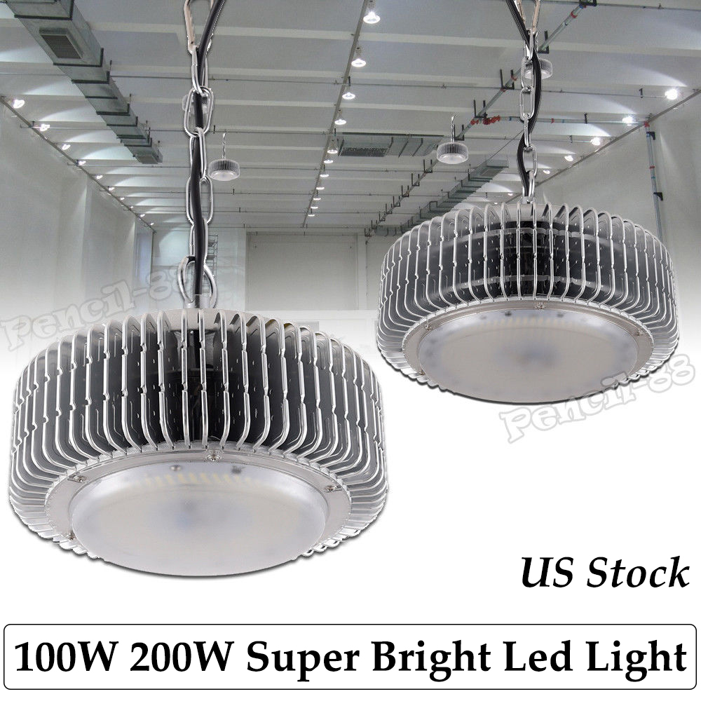 Details About 100w 200w Led High Low Bay Lights Commercial Warehouse Factory Gym Lighting