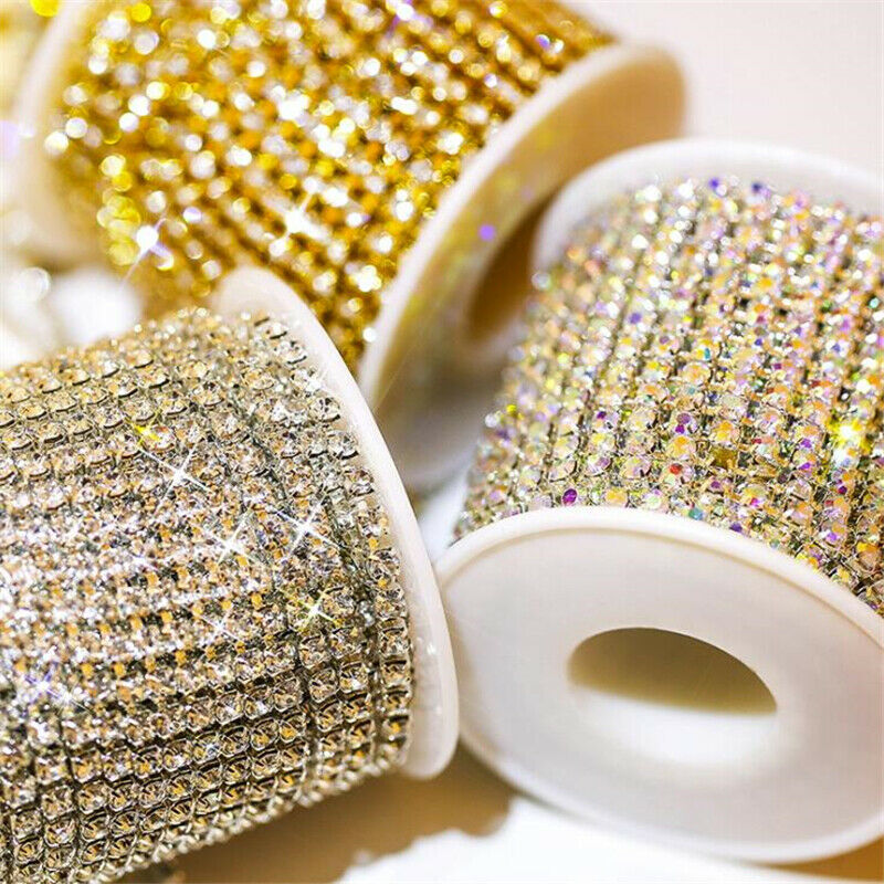 DIY Crystal Rhinestone Close Chain Trims Trimming Jewelry Sewing Crafts 2M//10M