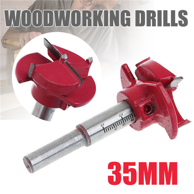 Wood Drill Bit Hinge Hole Saw Set Cutter Carbide Guide Reamer Hex Wrench