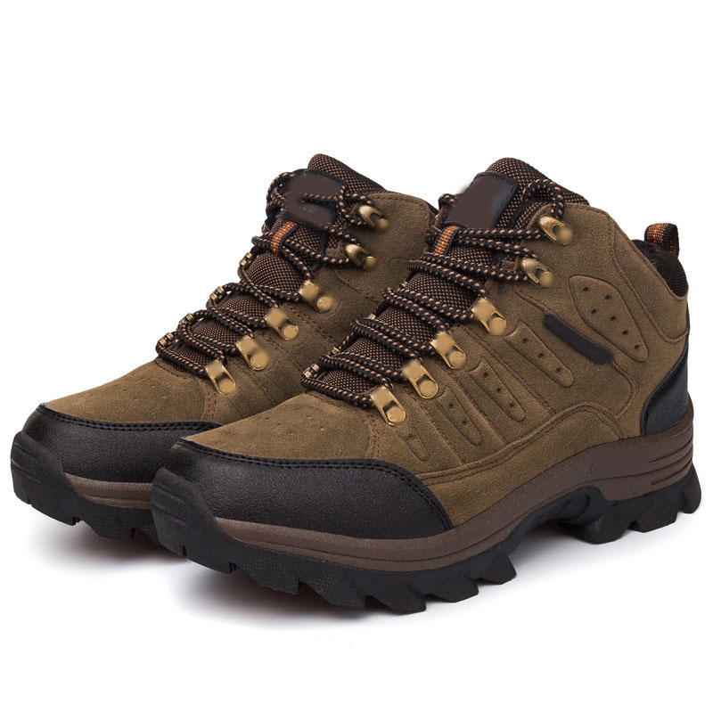 Womens Mens outdoor shoes high top fleece Leather boots waterproof hiking warm 9