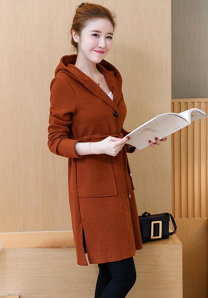 Womens Oversize Knitted Jacket Coat Cardigans Slim Outwear Hooded Overcoat Parka