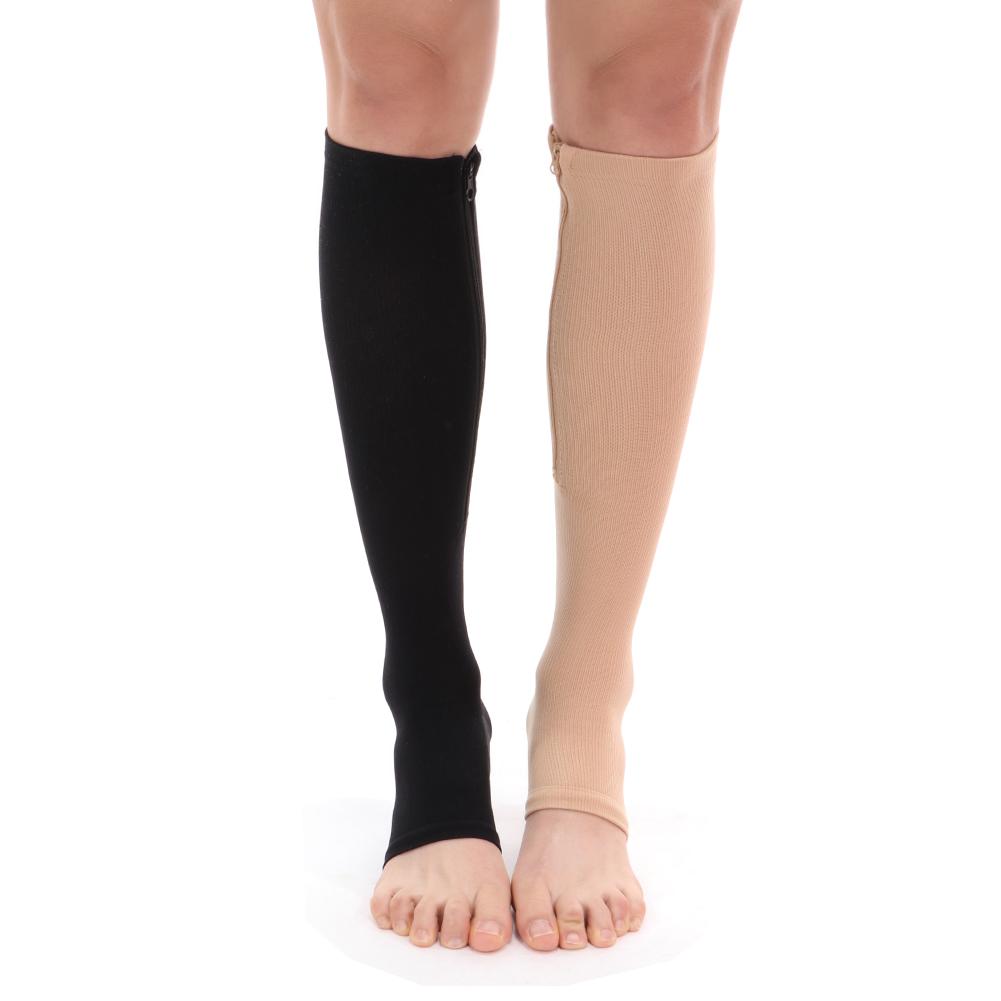 Unisex Compression Socks Zipper Leg Support Open Toe Knee