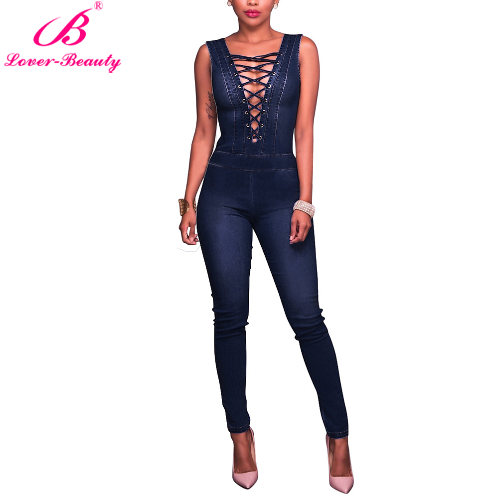 2ed790fa1a8 Details about Casual V-neck Women Sleeveless Bandage Cotton Denim Jumpsuit  Long Playsuit New