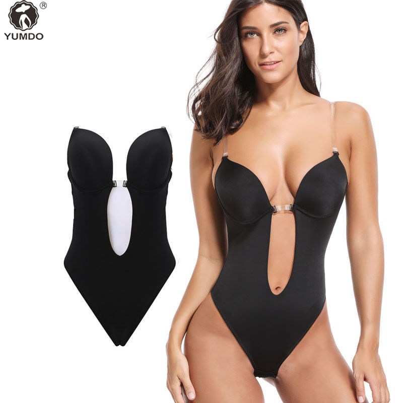 487e52574 Details about Convertible Backless Full Body Shaper PUSH UP Bra Thong  bodysuit shapewear
