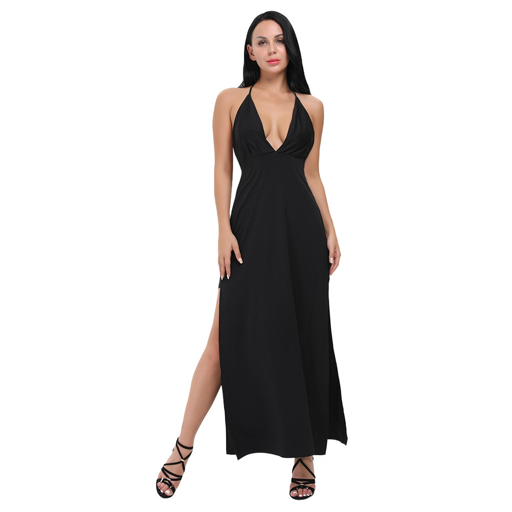 Lover Beauty Vintage Backless Black Dress V Neck Prom Halter Maxi ...
