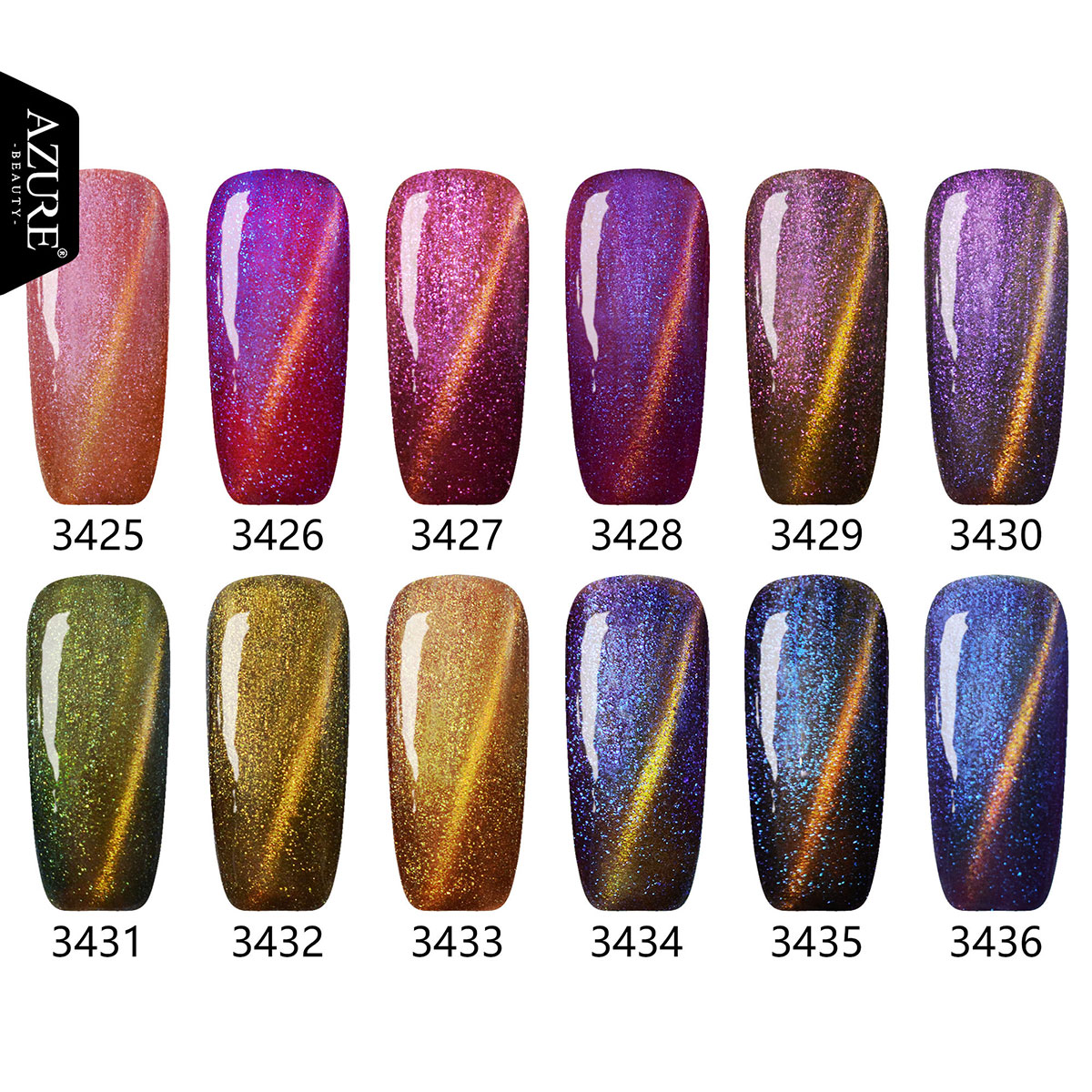 Azure Lavender 3D Chameleon Magnetic Cat Eye Soak Off UV Gel Nail ...