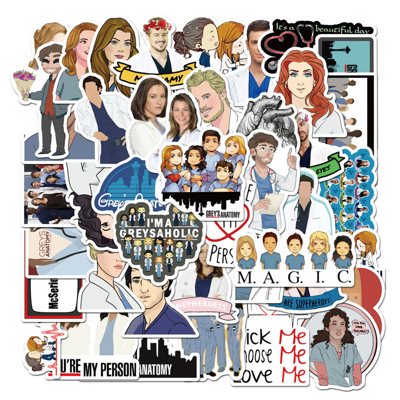 50pcs Grey/'S Anatomy Stickers Pack Tv Show Creative Funny Decals Luggage Fridge