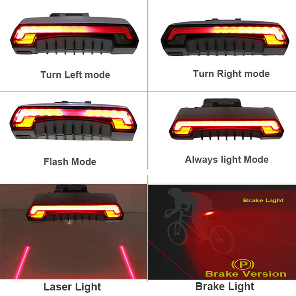 Wireless Remote Control Bike Bicycle Taillight Turn Signal LED Light Rear Lamp
