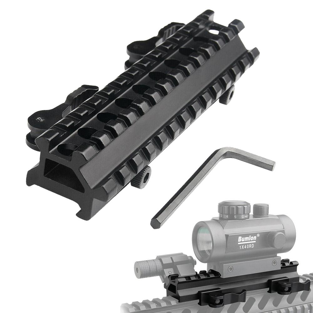 Double Rail Angle Quick Detach Picatinny Weaver Rail Rifle Scope Mount 13 Slots