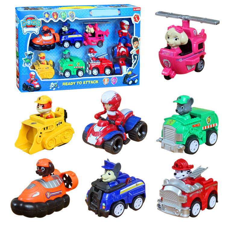 7pcs Paw Patrol Dog Pup Action Figures Doll Racer Car Set Kids Baby Boy Girl Toy