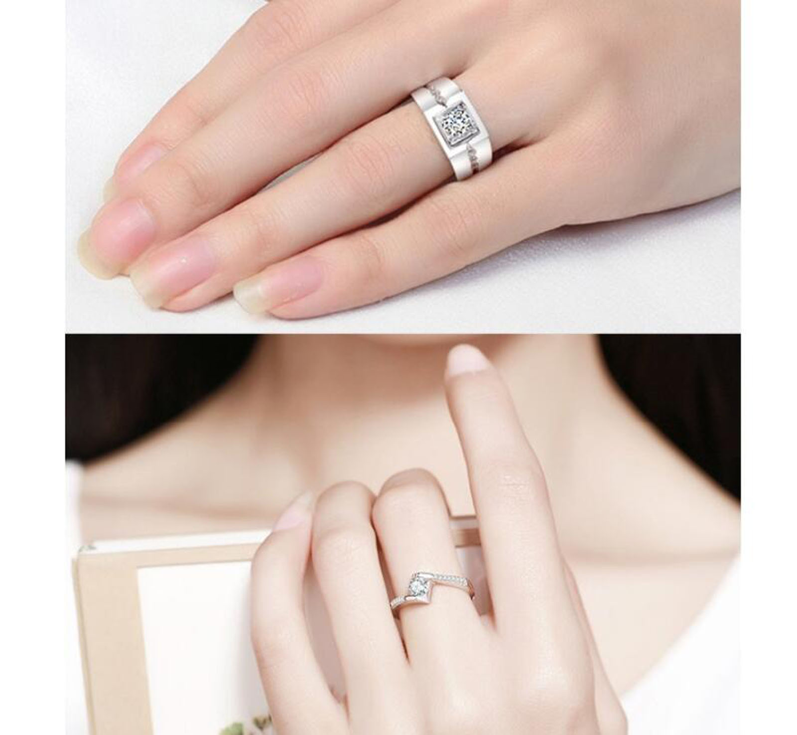 w ring her stainless get his steel couple new set free com shipping wedding king engagement on rings buy a and wholesale queen aliexpress letters romantic of