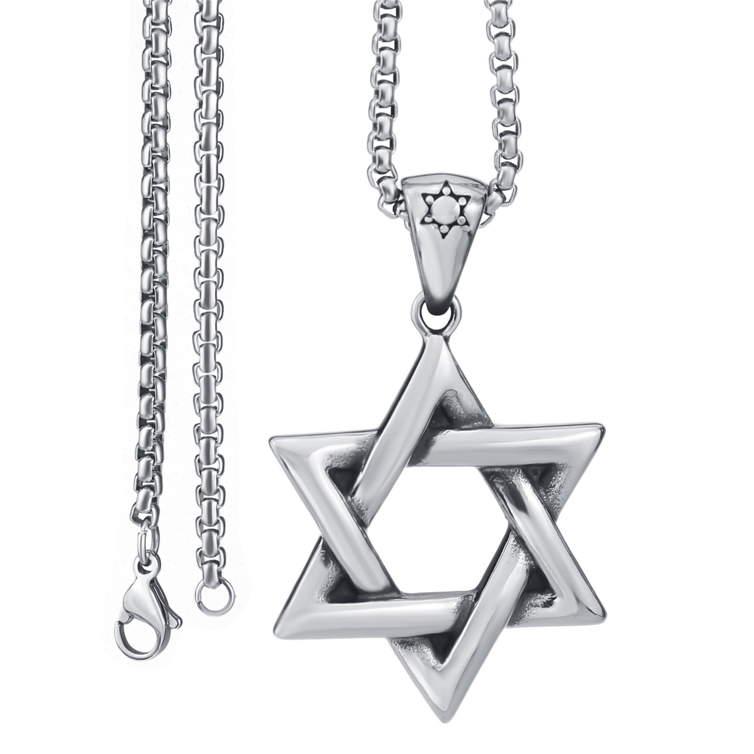 Men/'s Stainless Steel Religious star of David Pendant 22/'/' chain Necklace