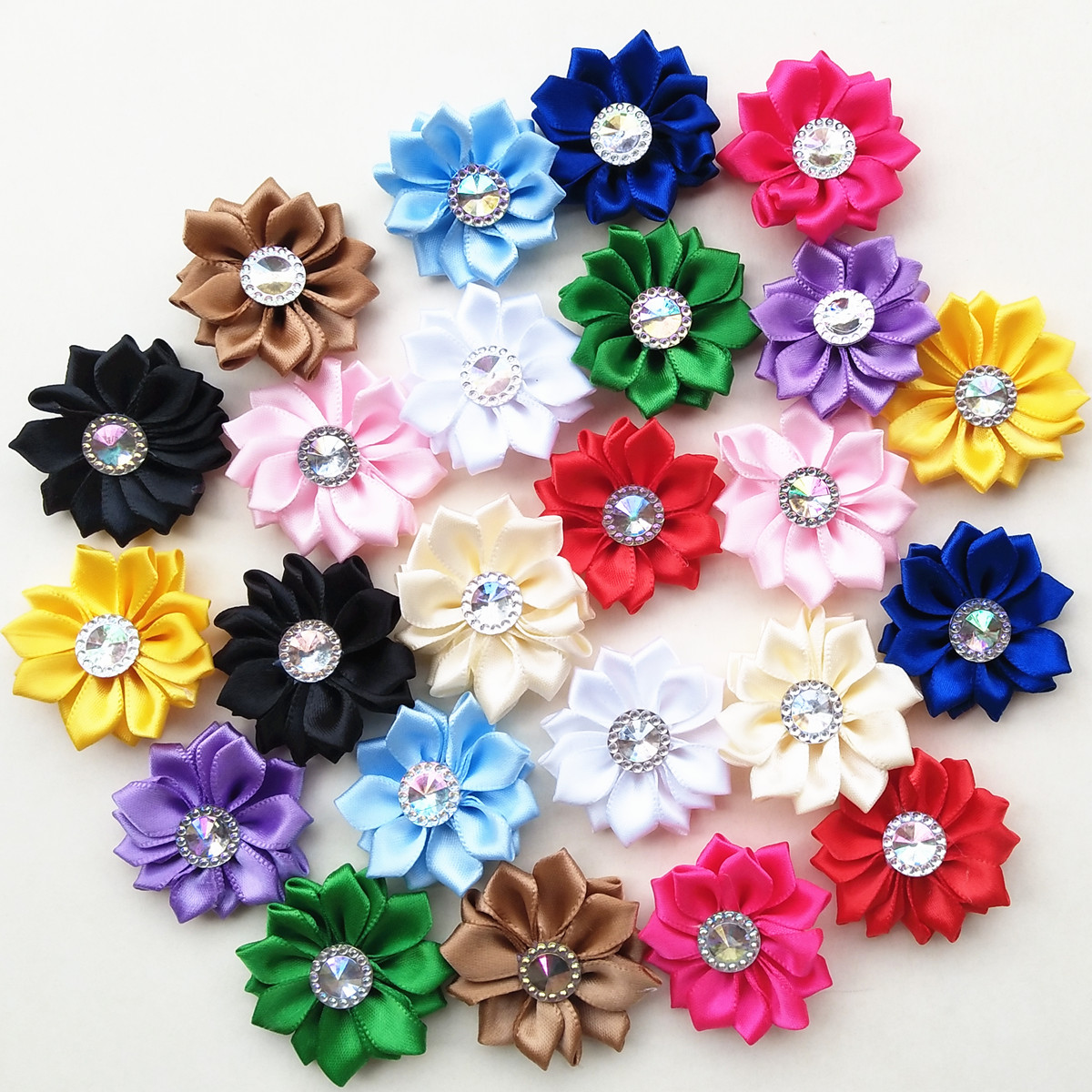 Multi Colors Shiny Satin Ribbon Flower Clothes Sewing Diy Craft