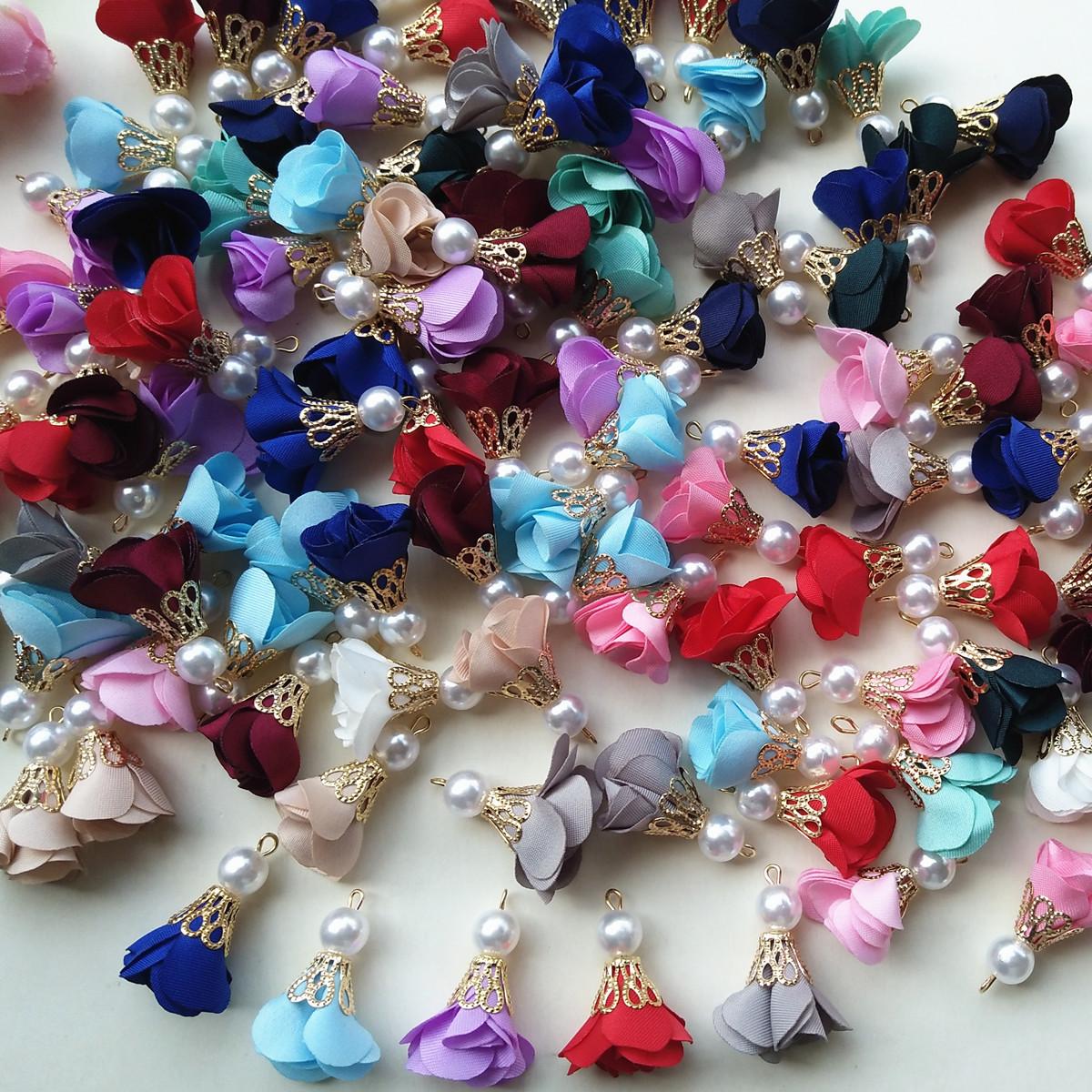 Chiffon Flower Pearl Pendant Necklace Bracelets Earring ...