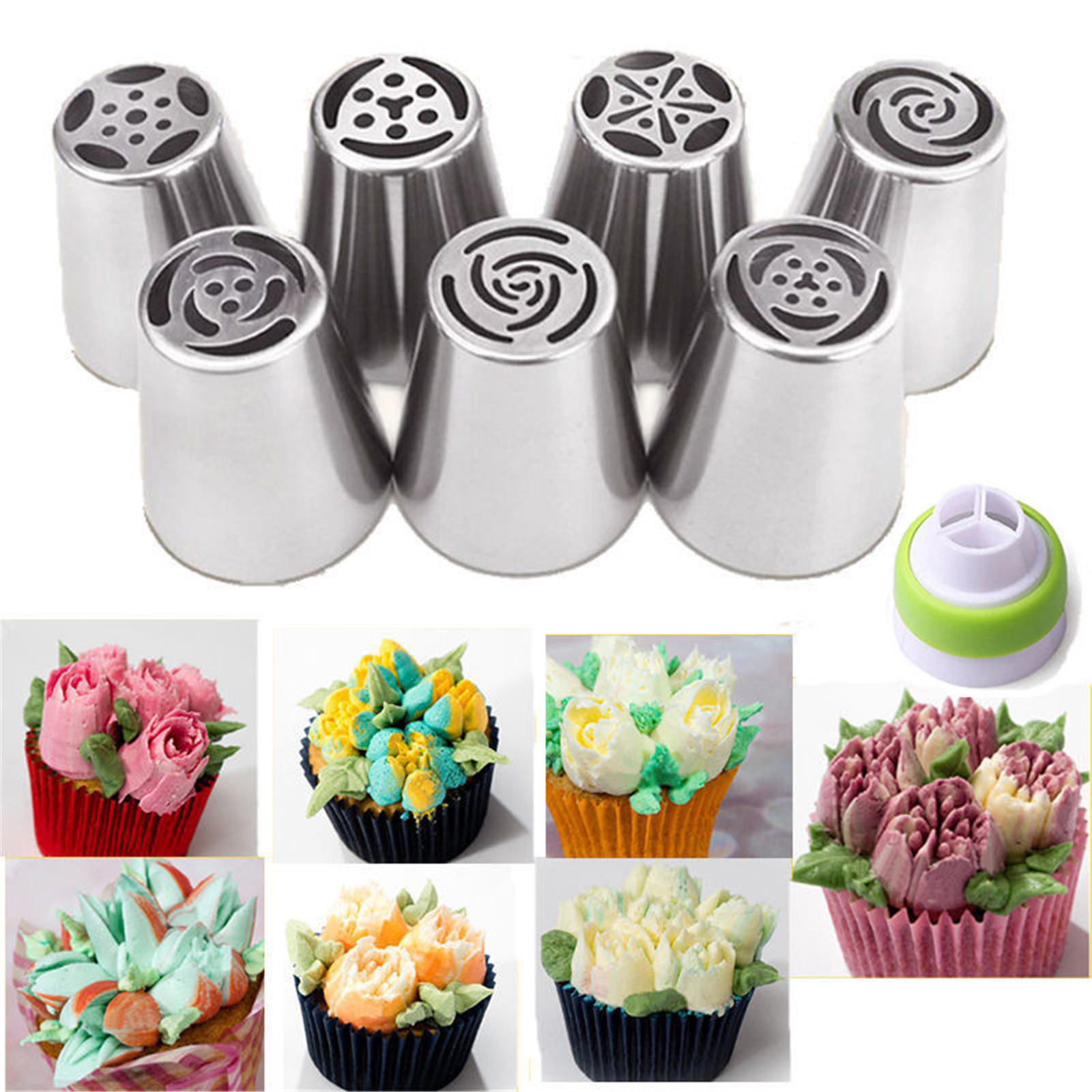 7PCS Russian Icing Piping Nozzles Tips Cake Decorating ...