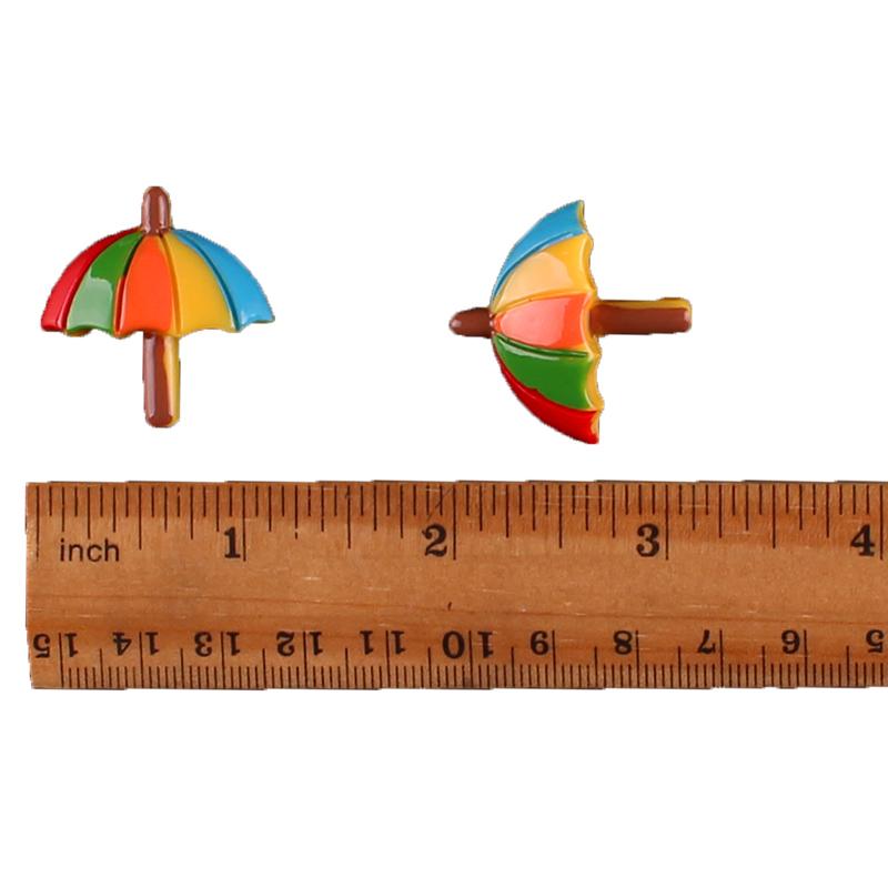 10pcs Tropical Summer Beach Umbrella Resin Flatbacks Girl Hair Bow Crafts DIY