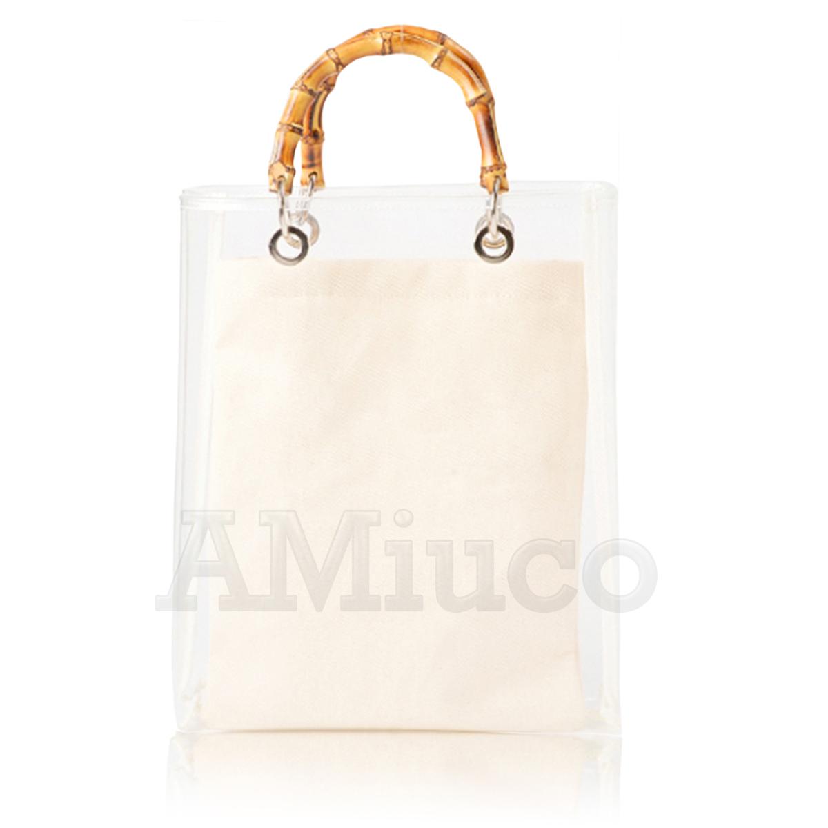 7ebc178bb8e2 Ladys Bamboo Bag Transparent PVC Soft Clear Jelly Clutch Bag Tote Casual  Handbag
