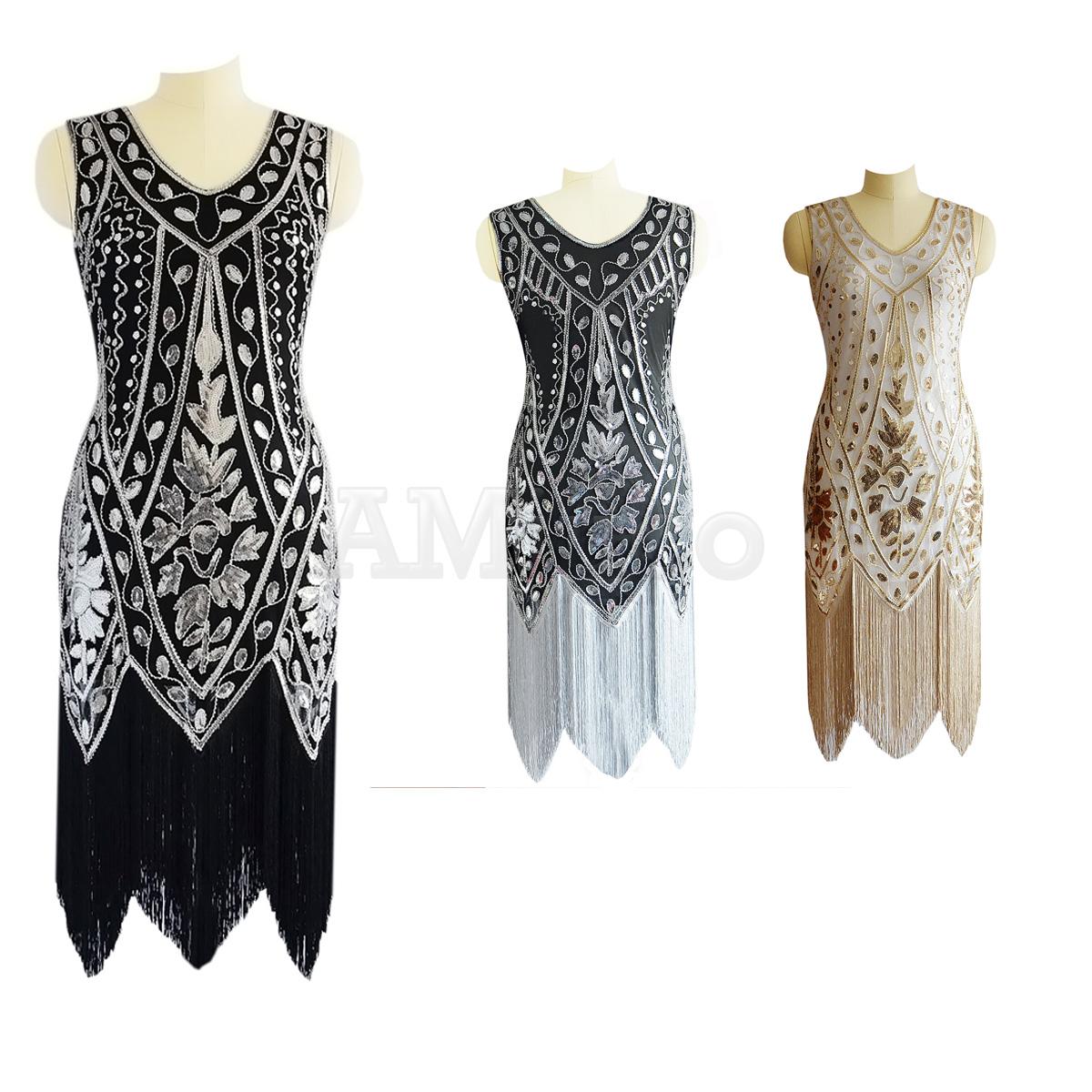 f7269bb910012 1920s Flapper Dress Great Gatsby Art Deco Sequin Tassels Fringed ...