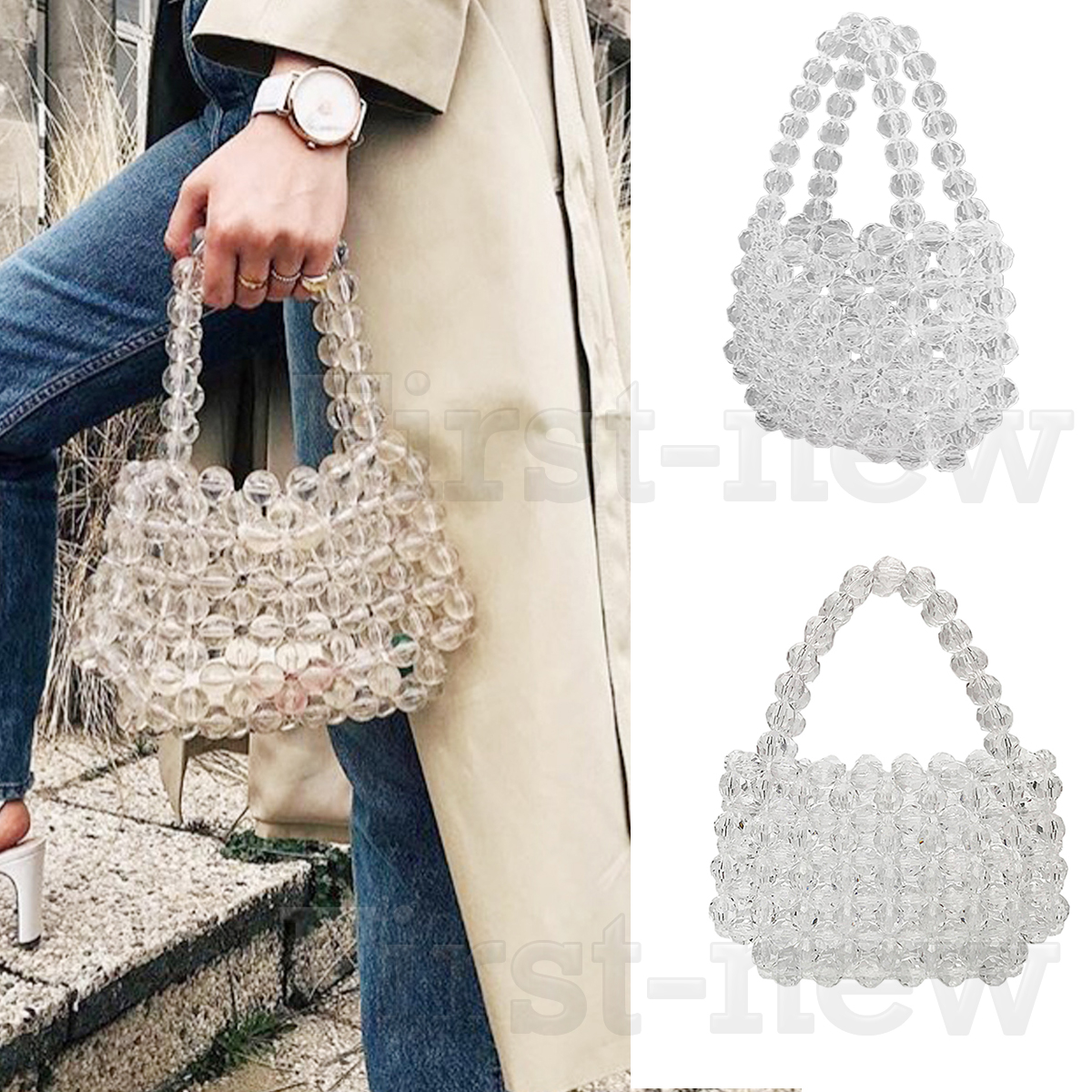 bceffab59f Details about 100% Handmade Acrylic Beaded Bag Clear Crystal Ladies Clutch  Bag Weave Handbags