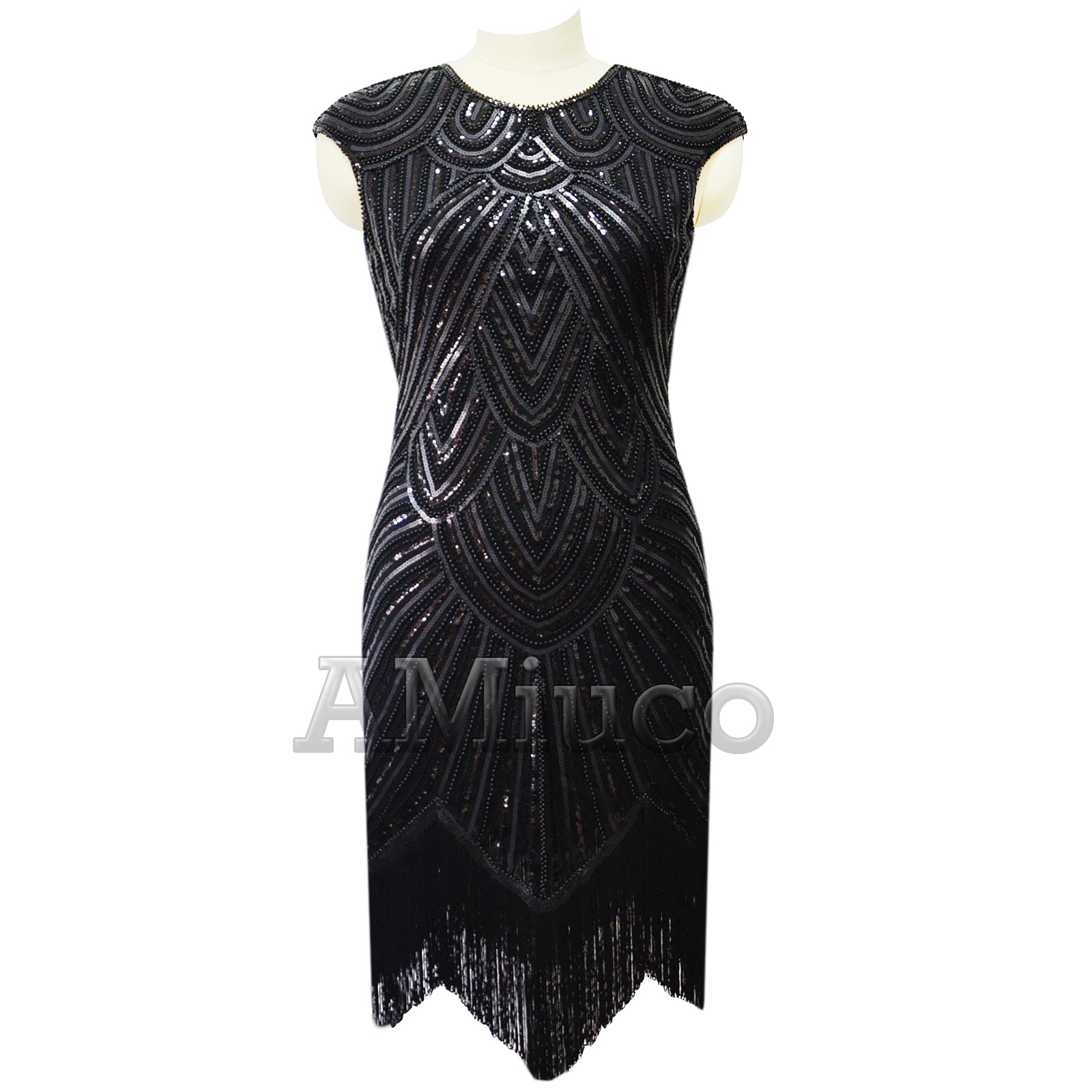 1920s Flapper Dress Great Gatsby Wedding Prom Gown Sequins Fringes ...