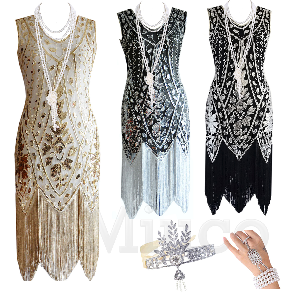 1920s Flapper Vintage Great Gatsby Charleston Sequin Dress Party Costume
