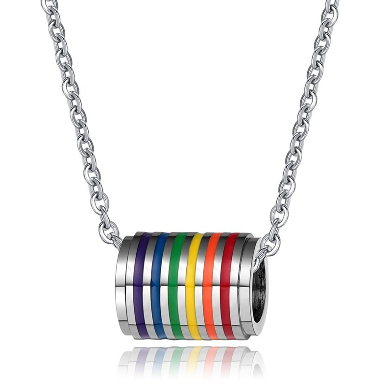 demonstration product for wholesale new necklaces and lgbt stainless necklace parade pendant lesbian jewelry woman gift choker gay rainbow steel pride