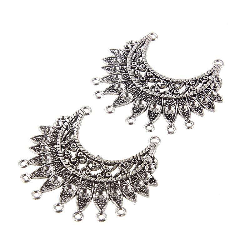 2PC Tribal Hollow Flower Crescent Moon Charm Pendant Tibetan Silver Beads Craft