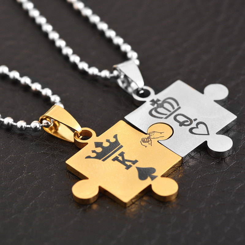 Couples stainless steel matching jigsaw puzzle piece pendant couples stainless steel matching jigsaw puzzle piece pendant necklace gifts aloadofball Gallery