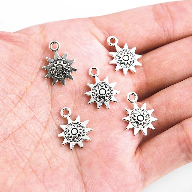 Sun Tibet silver Charms Pendants DIY Jewellery Making crafts 3pcs Tree Flower