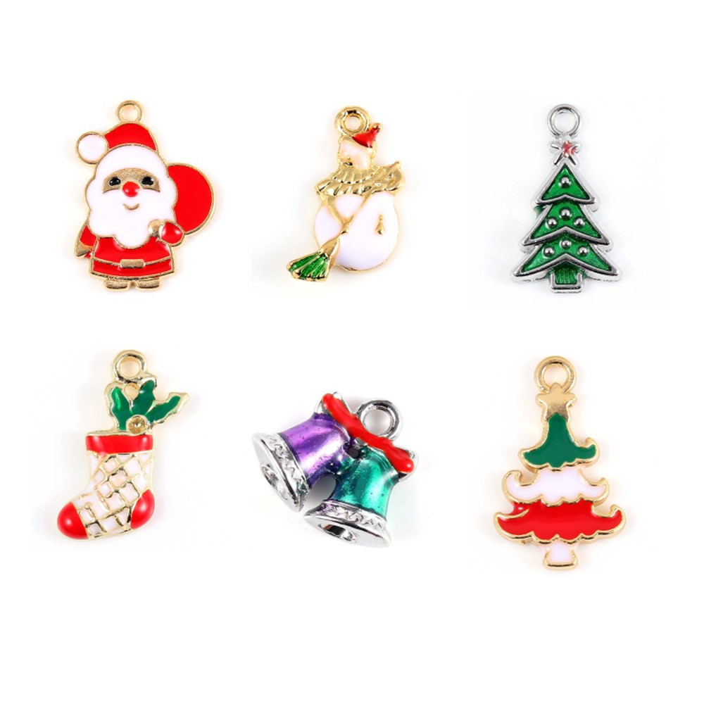 10pcs//lot Enamel Alloy Xmas Santa Claus Head Pendants Jewelry Crafts Findings