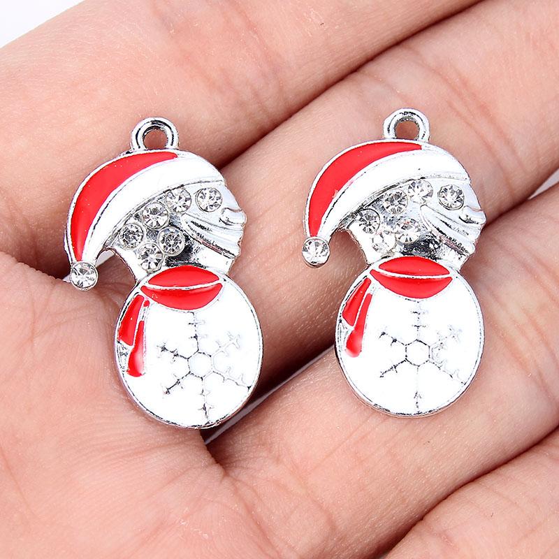 10Pcs Christmas Snowman Alloy Charm Pendant DIY Necklace Jewelry Making Craft