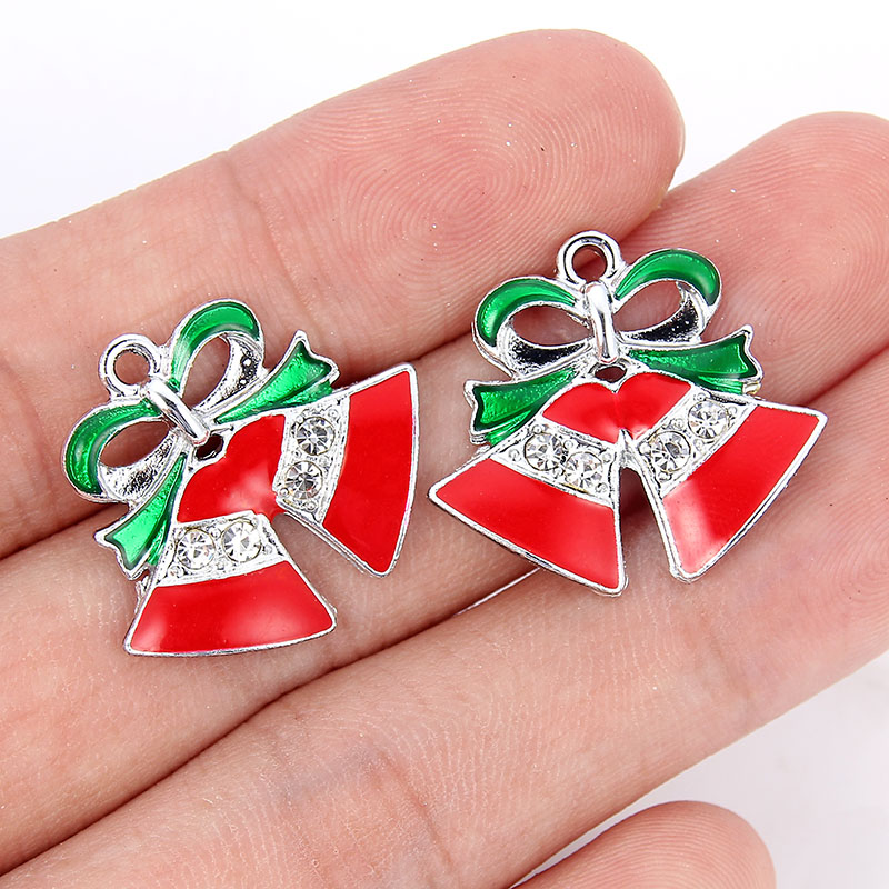 10Pcs Christmas Red Jingle Bells Crystal Charm Pendant DIY Bracelet Making Craft