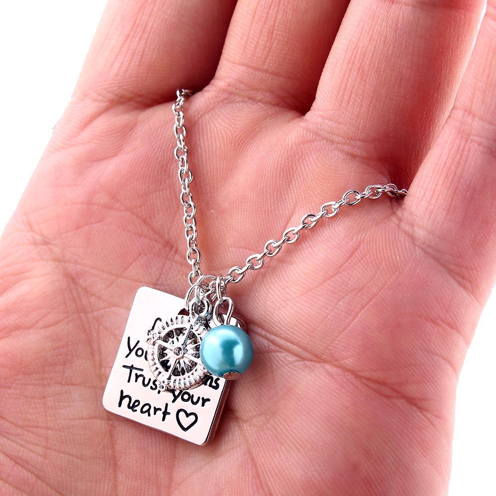 Trust Your Heart Silver Compass Charm Beads Pendant Necklace necklace pendant watch Follow Your Dreams
