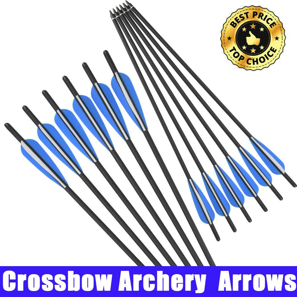 "18/"" Fiberglass Crossbow Bolts Archery Hunting Shooting Arrows 125 Grain Points"