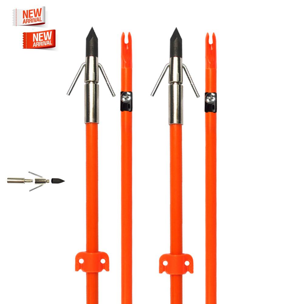 "32/"" Bow Fishing Arrow Fiberglass Solid Arrows Bowfishing with Tip Broadhead OR"