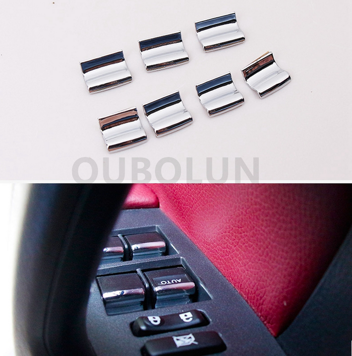 7PCS Stainless Window Button Trim Sequin For Toyota Corolla Levin RAV4 2014-2017