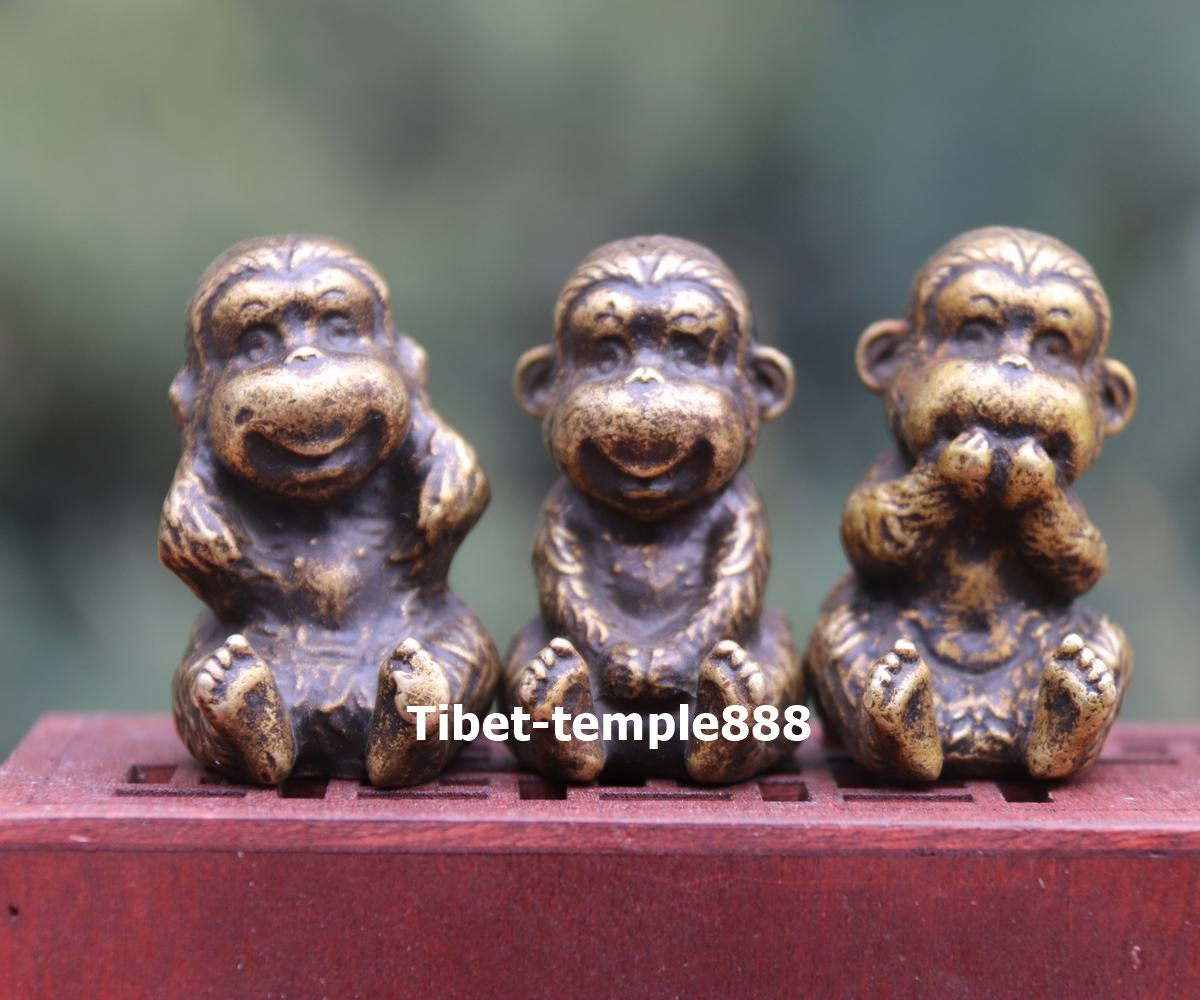 4 cm China Pure Copper Bronze Three Monkey Monkeys Statue Animal Lucky Statue