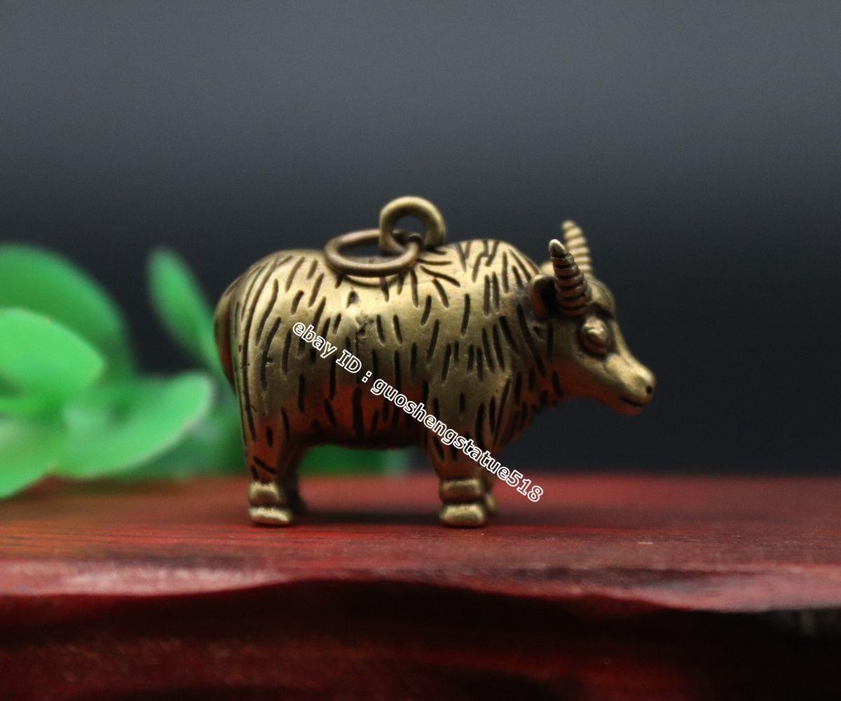 4 CM Pure Chinese Zodiac Animal Ox Bull Guardian Beast Statue Amulet Pendant