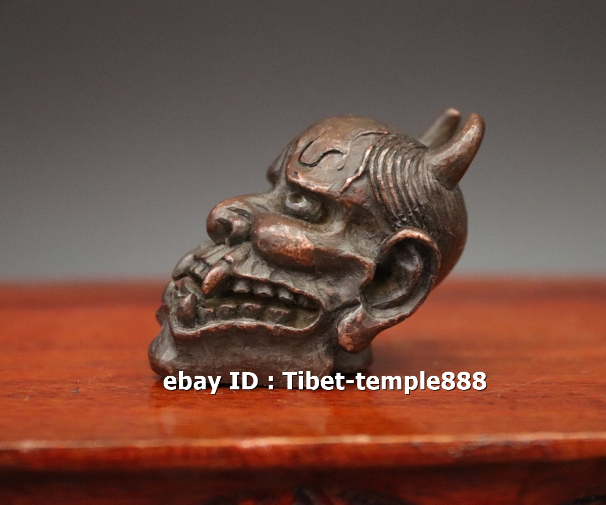 5.5 CM Chinese Pure red Copper Cartoon characters demon devil evil spirit Statue