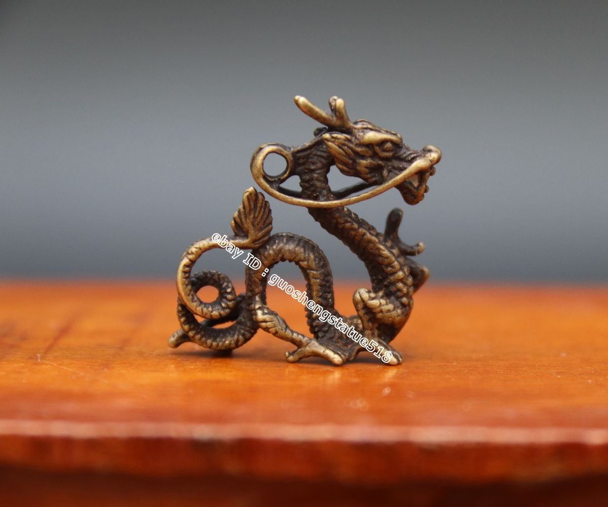 "2.4/"" Curio Chinese Bronze 12 Zodiac Animal Dragon Long Small Axe Amulet Pendant"