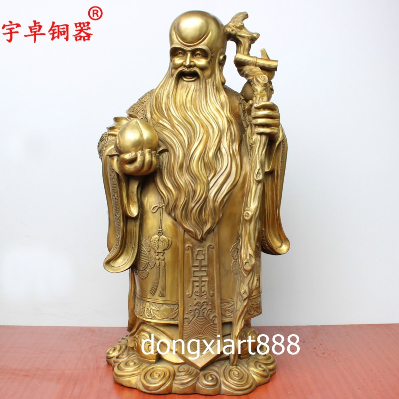 China of handmade brass statue carving longevity peach
