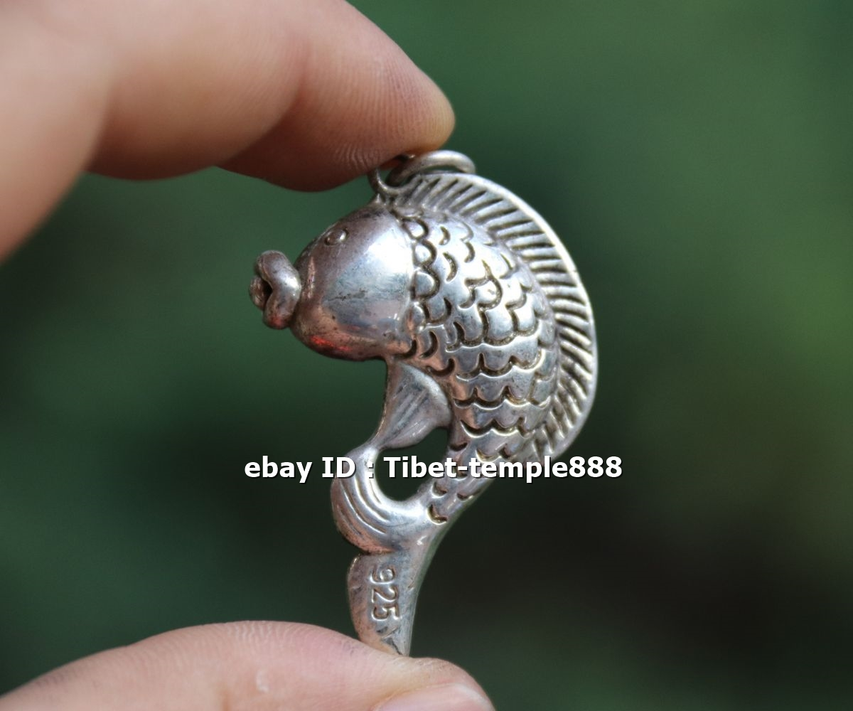 5 CM Miao Silver Handwork Chinese Zodiac Animal Lucky Tiger Amulet Pendant