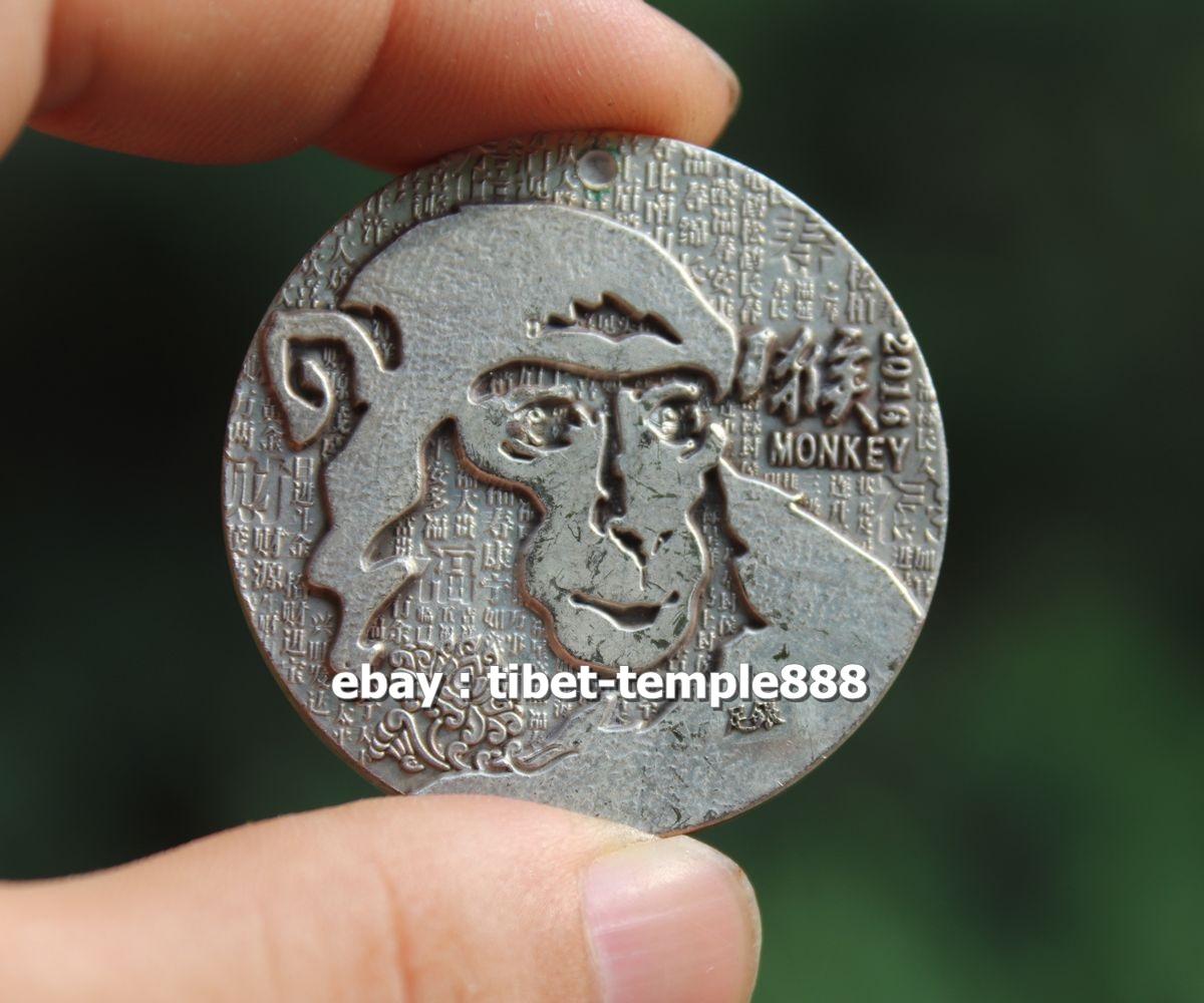 4.5 CM Tibet Bronze Silver monkey Sakyamuni Shakyamuni Gautama Buddha Pendant