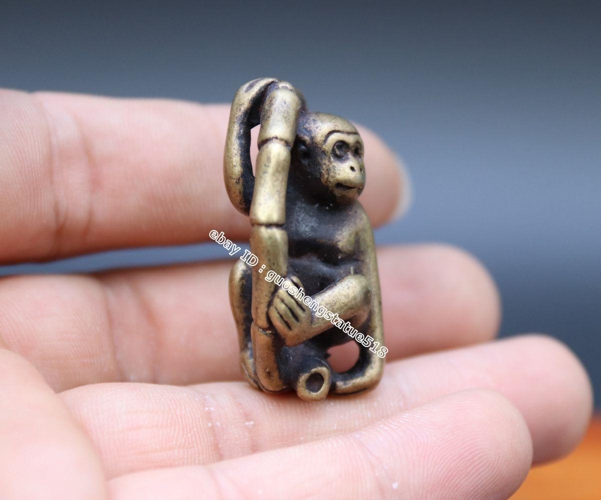 4 CM Pure Bronze China Zodiac Animal Monkey Round Bamboo Amulet Pendant Necklace