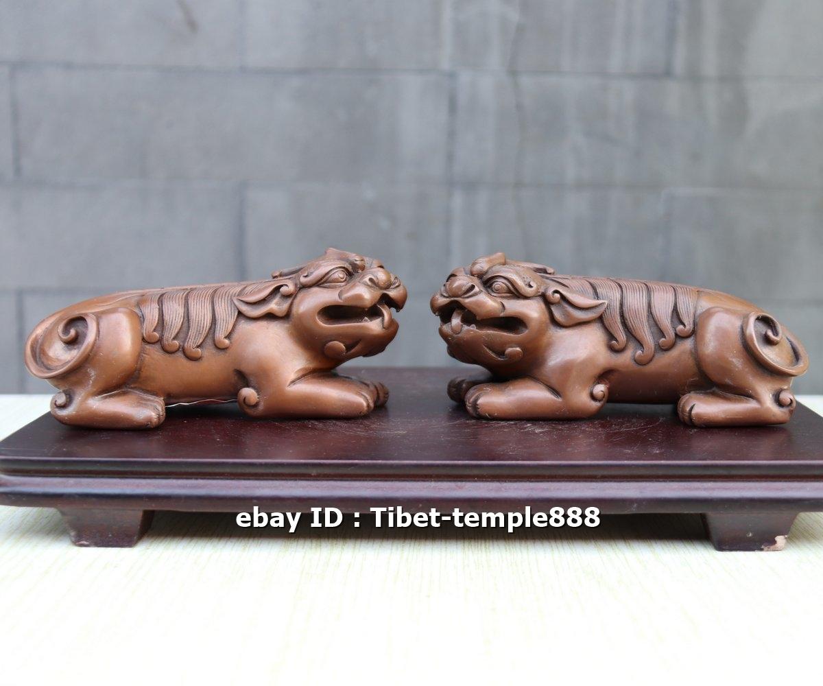6 CM 100/% Pure Bronze Fengshui Aniaml Foo Dog Lion Pi Xiu Statue Amulet Pendant