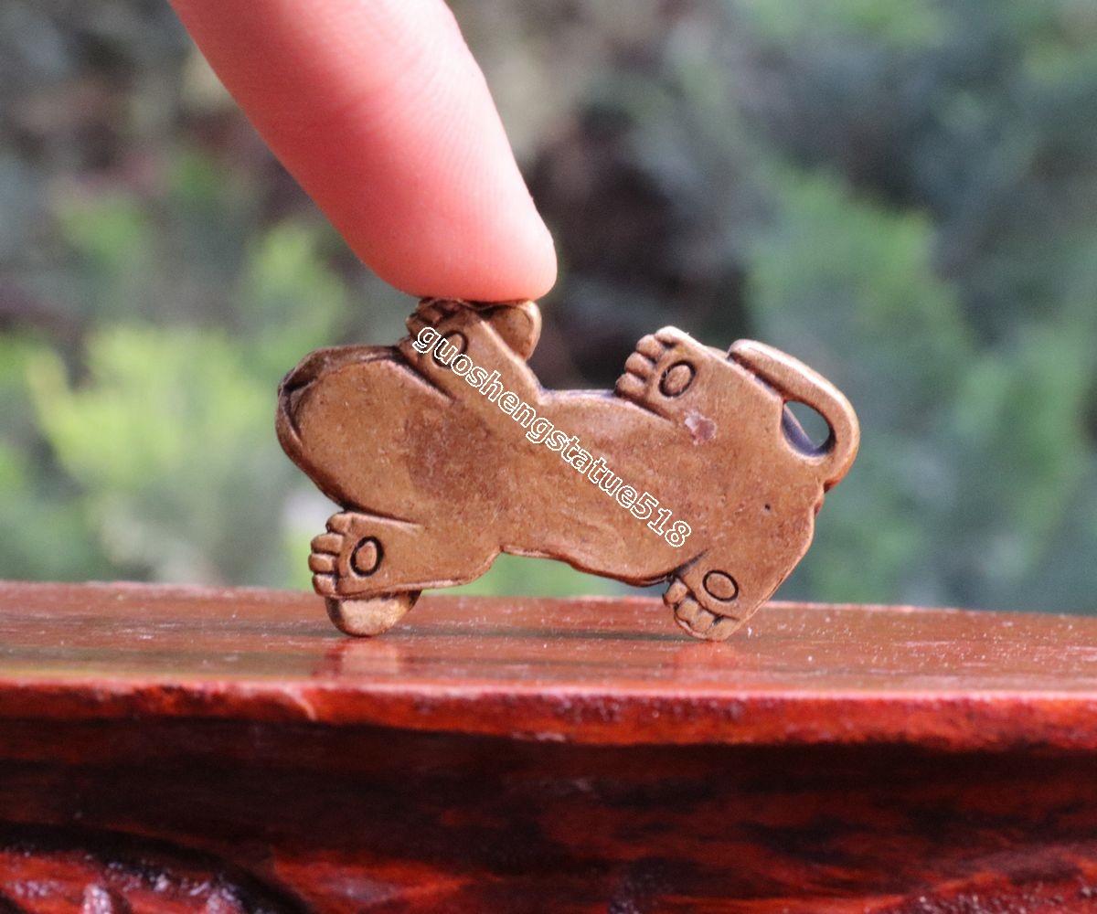 5 CM Chinese Pure Bronze Migru hound Beagle Stay down Pet dog Animal sculpture