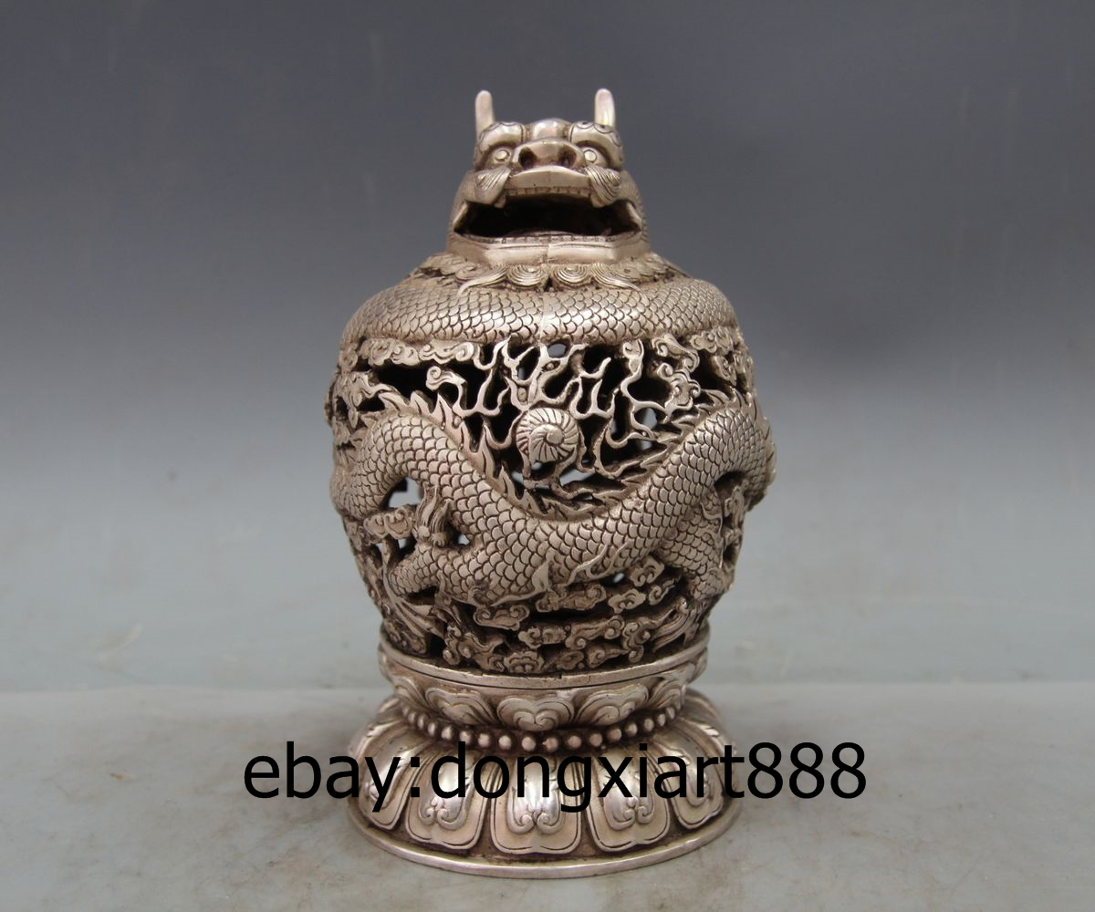 Collectible Chinese Miao Silver Hand-carved Cattle Incense Burner