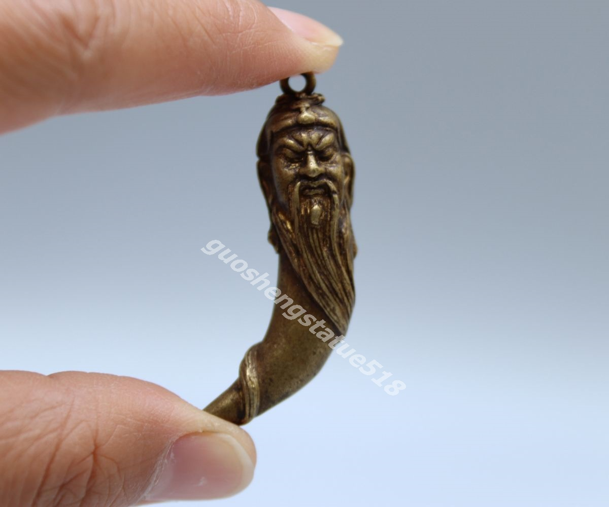 46MM Collect Curio Chinese Bronze Guan Gong Yu Warrior God Amulet Small Pendant